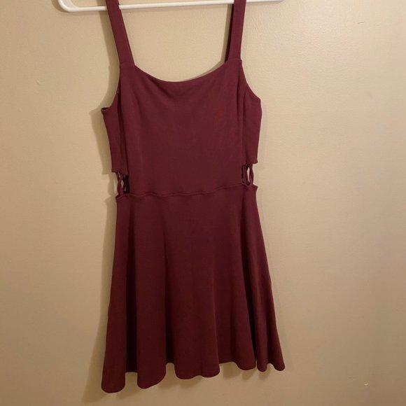 Garage Burgundy Sleeveless Skater Dress